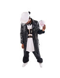 Cool hip-hop young man on white. Cool hip-hop youngster isolated on white background Royalty Free Stock Photos