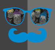 Cool hipster face print of man with sunglasses. Royalty Free Stock Photo