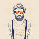 Cool hipster. Fashion character illustration, cool hipster with hat, sun glasses and galluses Stock Image
