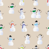 Cool hipster snowmen seamless vector print Royalty Free Stock Photography