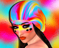 Cool hipster student woman wearing colorful hat and fashion makeup. 3d render of a  female university student or fashionista girl. Perfect for themes on beauty Stock Photography