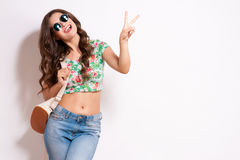 Cool hipster student woman wearing eyewear glasses . Stock Images