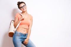Cool hipster student woman wearing eyewear glasses . Royalty Free Stock Photo