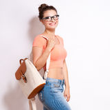 Cool hipster student woman wearing eyewear glasses . Royalty Free Stock Images