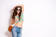 Cool hipster student woman wearing eyewear glasses . Royalty Free Stock Photo