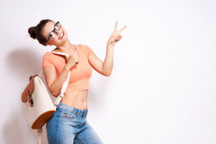 Cool hipster student woman wearing eyewear glasses . Stock Photos