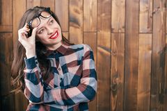 Cool hipster student woman wearing eyewear glasses . Caucasian female university student. Cool hipster student woman wearing eyewear glasses . Caucasian female Stock Images