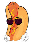 Cool hotdog cartoon Stock Photography