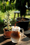 Cool ice caramel macchiato coffee on rough wooden table in topical garden. Stock Photo