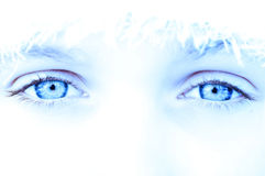 Cool ice eyes. Woman beautiful eyes stock photos