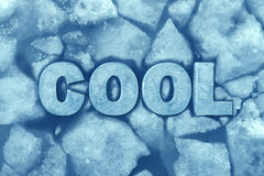 Cool Ice Symbol. As text in frosty glacial frozen water as a refrigeration and air conditioning comfort symbol with 3D illustration elements Royalty Free Stock Photo