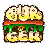 Cool icon burger. Vector illustration of stickers isolated. On white background Stock Photo