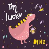 Cool illustration for children`s fashion. Dinosaur in a magical forest. Cartoon pink dinosaur. Print for children`s clothes, fabri vector illustration