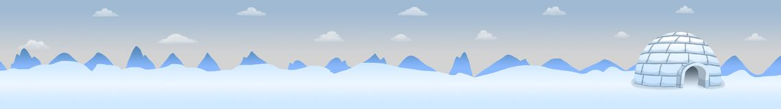 North pole panoramic landscape with igloo Royalty Free Stock Photography