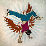Cool image. With breakdancer on the wall Royalty Free Stock Photo