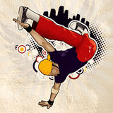 Cool image. With breakdancer on the wall Royalty Free Stock Photos