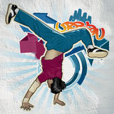 Cool image. With breakdancer on the wall Stock Photos