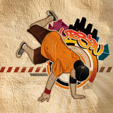 Cool image. With breakdancer on the wall Royalty Free Stock Image