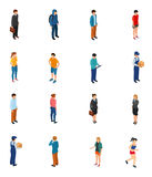 Cool isometric people of different professions by job education level sex clothes hairs. Isolated vector illustration Stock Photography
