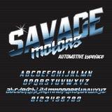 Cool italic typeface SAVAGE motors Royalty Free Stock Photography