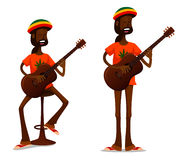 Cool Jamaican guy playing guitar Stock Images