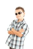 Cool kid. Cool and trendy kid with sunglasses isolated over white background Royalty Free Stock Photos