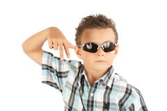 Cool kid. Cool and trendy kid with sunglasses isolated over white background Stock Photos