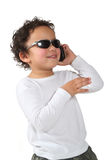 Cool kid on a cell phone Stock Photo