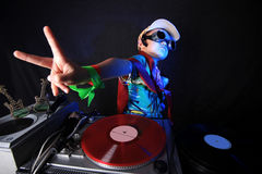 Cool kid DJ in action Stock Photo
