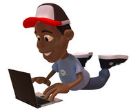 Cool kid with a laptop Royalty Free Stock Photography
