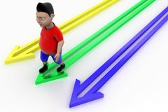 Cool Kid Walking In Arrow Graph Stock Image