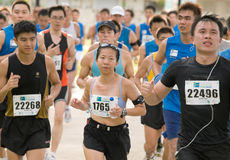 Cool Lady at the Singapore Marathon 2008 Royalty Free Stock Image