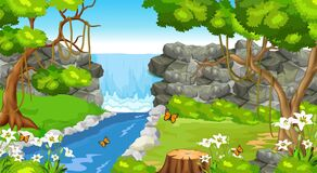Cool Landscape Forest View WIth River, Trees, Rocks, And Flowers Cartoon