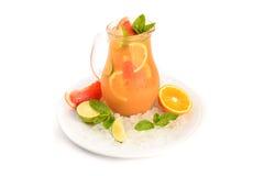Cool lemonad inglass jar isolated. On white background Royalty Free Stock Photo