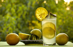 Cool lemonade and lemons in the summer on a green background Stock Photos