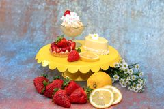 Cool and light spring desserts stock photography