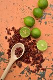 Cool limes and spicy hot dried red chili peppers Royalty Free Stock Photography