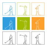 Cool line  figure golfer. Stylish  line golf icons. Cool linear figure golfer Royalty Free Stock Image