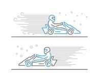 Cool line go kart and karting symbol Stock Photos