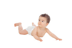 Cool little baby lying on the floor with a diaper Royalty Free Stock Photos