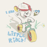 Cool little bear in cap on bicycle cartoon hand drawn.  Royalty Free Stock Photos