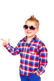 Cool little boy pointing his finger Stock Photos