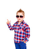 Cool little boy pointing his finger Royalty Free Stock Image