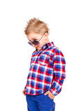 Cool little boy on a white background Stock Image