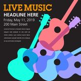 Cool live acoustic guitar show graphic Stock Images