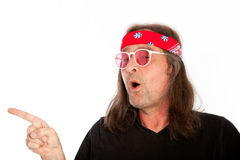 Cool Long Hair Man Pointing Right Stock Images