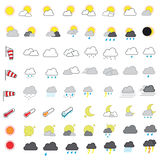 Cool Looking Weather Forecasting Vector Icon Set Royalty Free Stock Photos
