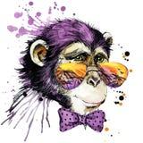 Cool małpie koszulek grafika małpia ilustracja z pluśnięcia akwarela textured tłem niezwykły ilustracyjny akwarela michaelita Fotografia Royalty Free