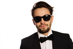 Cool macho businessman in sunglasses Stock Images