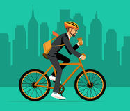 Cool Male Businessman  riding bicycle to office Royalty Free Stock Photo